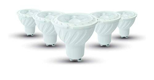 V-TAC 6.5W (60W Halogenbirnenersatz) Energiesparende GU10 Geriffeltes LED Spotlight mit Samsung LED 110 Abstrahlwinkel Nicht-dimmbar 3000K Warmweiß 300 Lumen [Energieklasse A+] 5er Pack