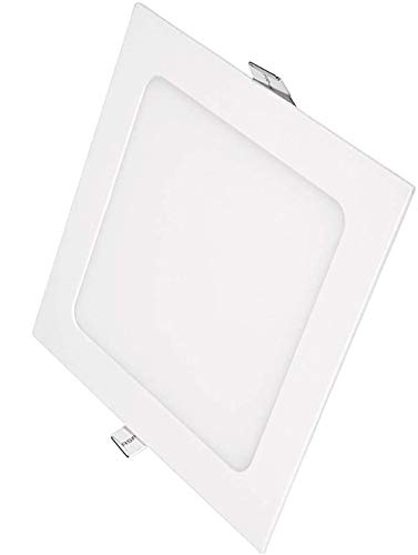 POPP®- Pack x2 Downlight LED Extraplano Cuadrado Blanco,chip OSRAM Iluminacion LED Plafón de Techo (6000K, 18W)
