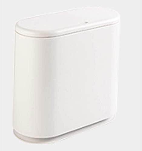 ZCRR Papelera para baño, con ranura para baño, cesta de papel estrecha, para el hogar, con tapa, papel higiénico plano