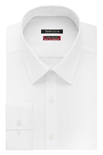 Van Heusen Men's Dress Shirt Slim Fit Flex Collar Stretch Solid, White, 18' Neck 32'-33' Sleeve (XX-Large)
