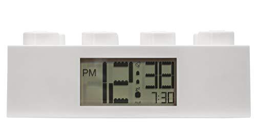 por ClicTime Lego Brick - Reloj Despertador, Color Blanco