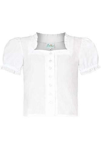 Trachten Stoiber Mädchen Mädchen Trachten-Bluse weiß, WEIß, 128