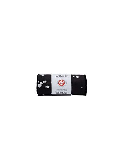 Manduka eQua - Toalla de yoga, extralarga, (182 cm x 67 cm), microfibra, muy absorbente, antideslizante, para yoga caliente, fitness, deporte (Mini Dot Black)