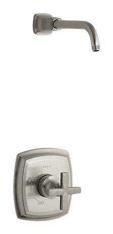 Kohler TLS16234-3-BN K-TLS16234-3-BN Margaux Rite-Temp - Válvula de ducha con mango de cruz, menos alcachofa de ducha vibrante de níquel cepillado