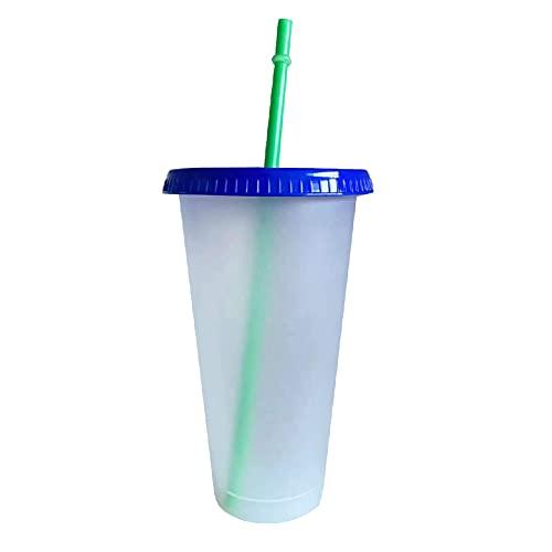 CFeng Farbwechsel-Becher, Kunststoff, Temperaturwechsel, Kaltbecher, wiederverwendbar, Sommer-Trinkbecher, Wasserbecher mit Strohhalm für Sommerpartys