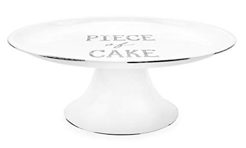 AuldHome Rustic White Cake Stand, Farmhouse Enamelware Round Pedestal Cake Stand, Distressed Vintage Style