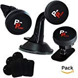 Magnetic Car Mount Holders, Pro Power 3-in-1 Universal Pack, Air vent Windshield Dashboard Car Phone Mounts For Smartphones, Tablets, GPS Devices with 6 Mount Metal Plates
