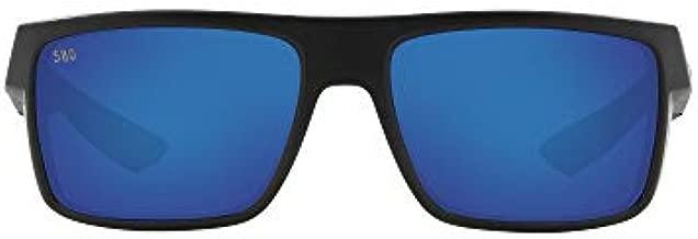 Costa Del Mar Men's Motu Polarized Rectangular Sunglasses, Blackout/Blue Mirrored Polarized-580G, 58 mm
