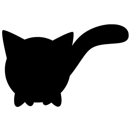 2 x Auto-Aufkleber für Katze, Stoßstangenaufkleber, Vinyl, Graffiti, niedlich, Anime, kratzfest, Klimaanlage, Kofferraum-Dekoration, Auto-Etikett – schwarz _ 25 cm