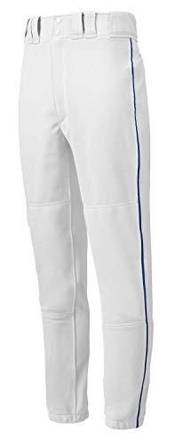 Mizuno Youth Premier Piped Pant (White/Royal, Large)