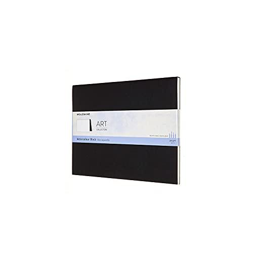 Moleskine Art Collection Watercolour Block Blocco da Disegno per Acquerello, Album con Carta per Acquerelli, Copertina in Cartoncino, Formato Extra Large 19 x 25 cm, Nero, 20 Pagine