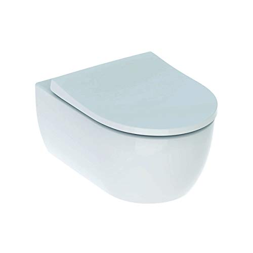 Geberit 500784011 iCon Set Wand Tiefspül spülrandlos mit Softclose und Quick-Release WC Sitz, weiß