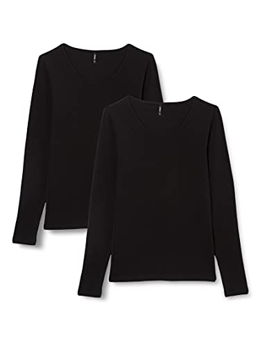 Only ONLLIVELOVE Life L/S Oneck Top 2PACK JRS Camiseta, Negro/Negro, M para Mujer