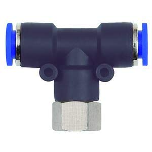 Raccord en T pour tuyau extérieur Ø 4 mm, pression de travail max. 15 bars, plastique/MS vern.