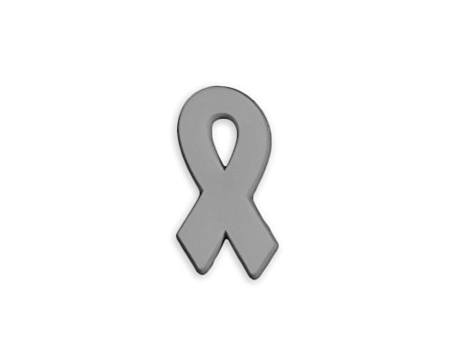 50 Pack Brain Cancer Gray Ribbon Awareness Silicone Pins (Wholesale Pack - 50 Pins)