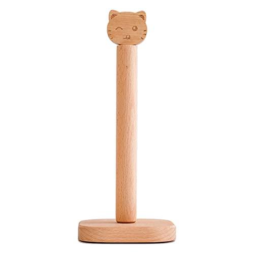 Salangae Portarrollos práctico portarrollos de cocina vertical de madera con diseño de gatito, muy adecuado para guardar en estantes, estantes, mesas-accesorios para el hogar: portarrollos (madera)