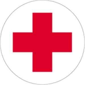 Pegatina de cruz roja autoadhesiva redonda (primeros auxilios, sanitarios) probada, resistente a la intemperie (5 cm)