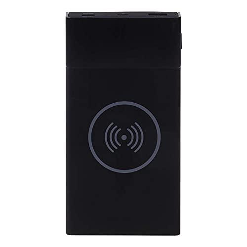 6X 18650 BATERÍA DIY QI QUI Cargador Inicial QC3.0 USB T-YPE C PD Power Power Bank Funda Portátil Salidas seguras con Pantalla Digital para teléfono 12 i-Pad S-Amsung (Color : Black)