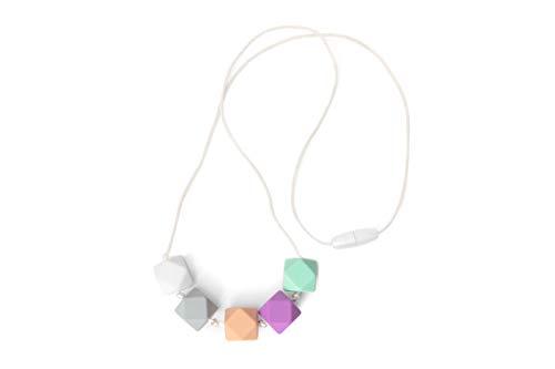 Baby Zahnungshilfe Stillkette mit Hexagon Perlen in Pastellfarben aus Silikon, BPA frei – stylische Pastell Baby Halskette & Beißkette in sorgsamer Handarbeit gefertigt von MilkMama