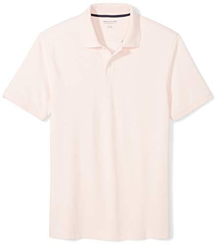 Amazon Essentials Men's Slim-Fit Cotton Pique Polo Shirt, Light Pink, X-Large
