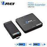 Wireless HDMI Transmitter & Receiver, by OREI - Extender Full HD 1080p Wirelessly Upto 100 Ft with Dongle - Perfect for Streaming, Laptops, PC, Media and More