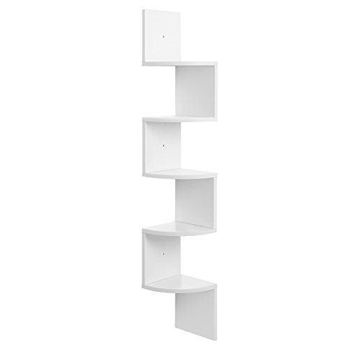 VASAGLE Corner Shelf, 5-Tier Floating Wall Shelf with Zigzag Design, Bookshelf, White ULBC72WT Montana