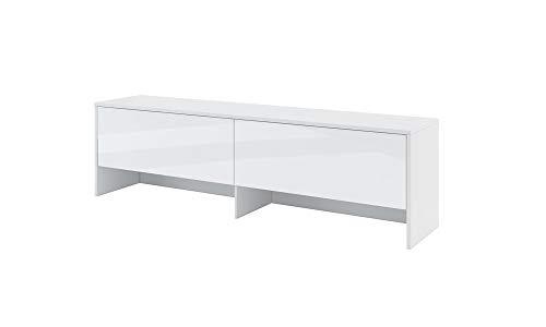 Furniture24 Aufsatz Bed Concept BC9, Schrank für Schrankbettem, 2 Klappen (Weß matt/Weß Hochglanz)