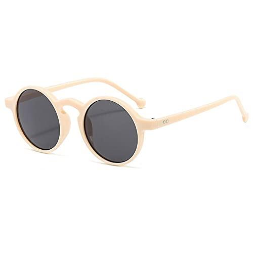 Huguo Gafas de Sol Decorativas Vintage Redondos Hombres Sombras Gafas Retro Moda 2021 Nuevas Gafas solares