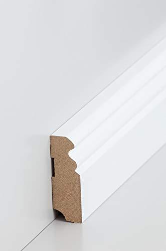 Südbrock 25m/10 Stück Hamburger Sockelleiste MDF weiß 58mm | Sparpaket | Altberliner Leisten für PVC, Laminat & Parkett | MDF Fußleisten 19x58mm (10)