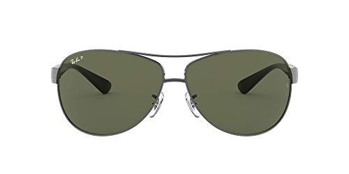 Ray-Ban Unisex RB3386 Sonnenbrille, Grau (Gestell: Gunmetal Glas: polarisiert grün 004/9A), Large (Herstellergröße: 63)