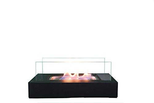 BestSeason Tischkamin für Ethanol 35x18x14cm rechteckig aus Metall und Glas SA267 Zimmerkamin Tischfeuer Dekokamin