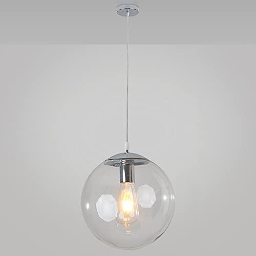 Jqchw Lampada A Sospensione in Vetro Vintage Lampadario Sferico in Vetro Trasparente con Base Industriale E27 Lampada A Sospensione A Soffitto per Soggiorno Sala da Pranzo