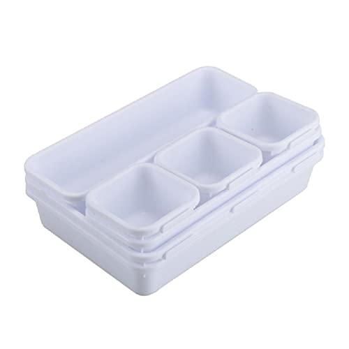 xllLU - Set di 32 contenitori per bidoni e cassetti, a incastro, in plastica, personalizzabili, multiuso, per casa, ufficio