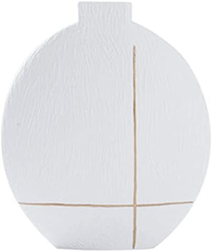 Decoración Jarrón Blanco Moderno Moderno Minimalista Florero Cerámico Adornos Nórdico Sala de Estar Casa Arreglo de Flores Decoración 21 × 26 cm JXLBB