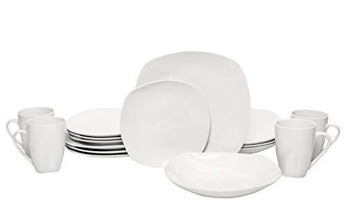 Vajilla Cuadrada para 4 personas de porcelana fina con 16 pz Mod Extravaganzz