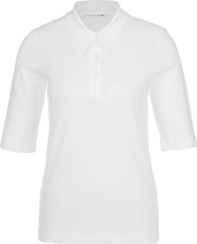Lacoste Damen PF0503 Polo Shirt Kurzarm, Frauen Polo-Hemd,3 Knopf, Regular Fit,White(001),40 EU (40)