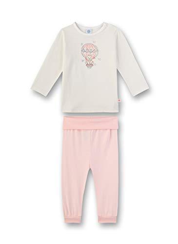 Sanetta Baby-Mädchen Pyjama lang Zweiteiliger Schlafanzug, Beige (beige 1427), 92 (Herstellergröße:092)