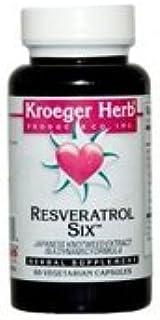 Kroeger Herbs Resveratrol Six Vegetarian Capsules, 60 Ea (Pack of 2)