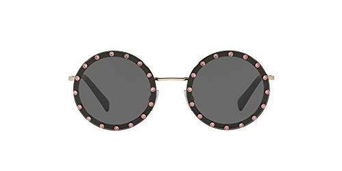 Valentino VA2010B - Gafas de sol redondas para mujer, color dorado claro/gris oscuro, 58 mm
