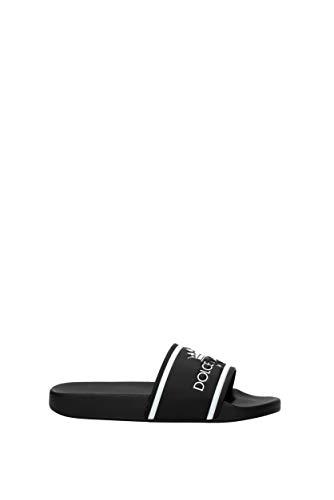 Dolce&Gabbana Herren-Hausschuhe aus Leder (CS1630AU679) EU, Schwarz - Schwarz  - Größe: 43 EU
