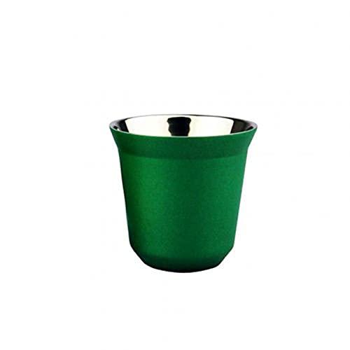 RWEAONT 80 ml Coffee Capsule Copa de Doble Pared de la Pared de la Pared de Acero Inoxidable Espresso Reutilizable Taza de utensios de utensios cafetería Herramienta de café (Color : Green)