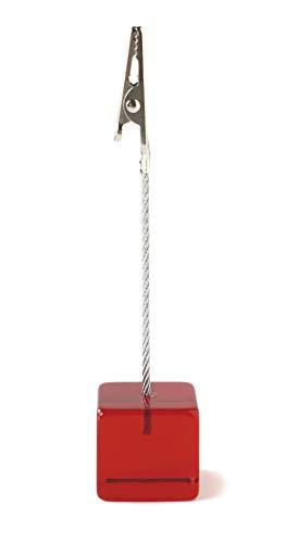 アクリルメモクリップキューブ カードスタンド カラフル 机上 デスク アクセント 店舗用品 アクリル製 ギフト レッド CAT-118 スリップオン