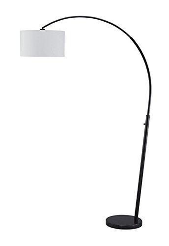 Signature Design by Ashley L725069 Ashley Furniture Signature Design - Shawny Metal Arc Floor Lamp with Drum Shade & Dimmer Switch - Contemporary - Black