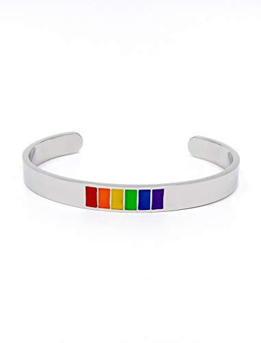 Tstars Gay Pride Bracelet Rainbow Flag Stainless Steel Bangle LGBT Jewelry Silver