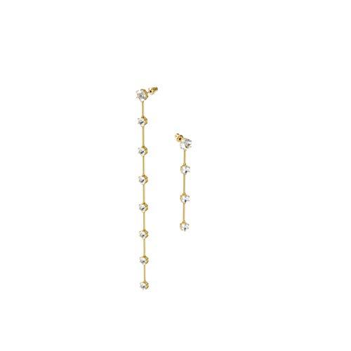 Swarovski Pendientes Constella, Asimétrico, Blanco, Baño tono oro