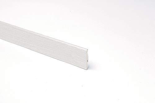 Battiscopa MDF Bianco Effetto Legno, H 58 x L 2400 mm, 5 Pz Tot. 12ml, Rovere Trend
