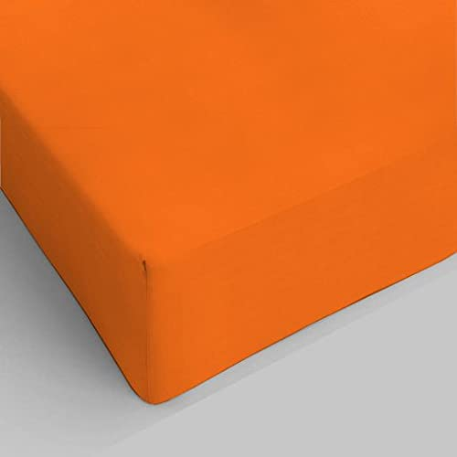 lenzuolo con angoli una piazza e mezza francese ( 140 x 200) colore arancio