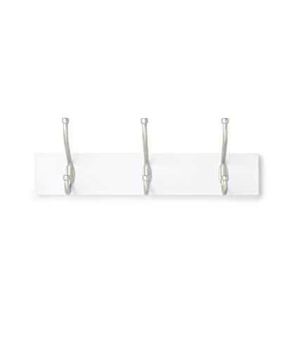Amazon Basics - Perchero de madera de pared, 3 ganchos estándar 34 cm, Blanco
