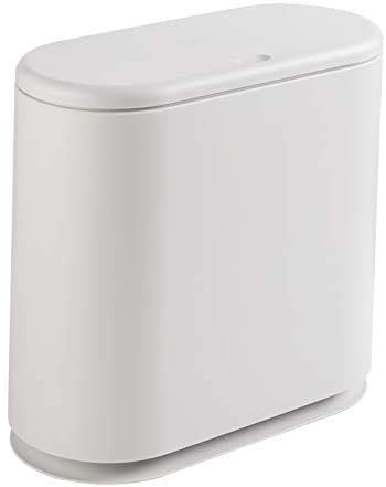 YCOCO Slim Plastic Trash Can,2.4 Gallon Garbage Can with Press Top...