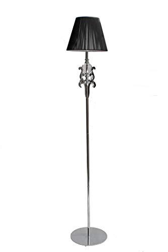 Garcia Requejo vloerlamp, zilverkleurig, voor woonkamer, met lampenkap van draad